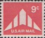 Red 9-cent U.S. postage stamp picturing silhouette of delta wing airplane