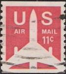 Red 11-cent U.S. postage stamp picturing silhouette of airplane