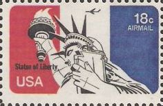 18-cent U.S. postage stamp picturing Statue of Liberty