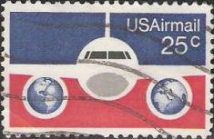 25-cent U.S. postage stamp picturing front of airplane and globes