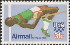 31-cent U.S. postage stamp picturing high jumper