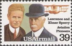 39-cent U.S. postage stamp picturing Lawrence and Elmer Sperry
