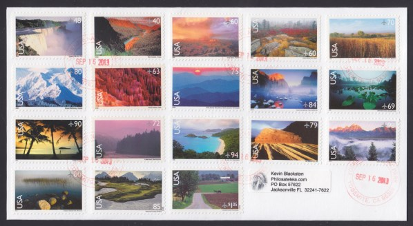 Cover bearing all 18 stamps from the United States' Scenic American Landscapes series postmarked at Yosemite National Park
