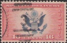 Red & blue 16-cent U.S. postage stamp picturing Great Seal of the United States