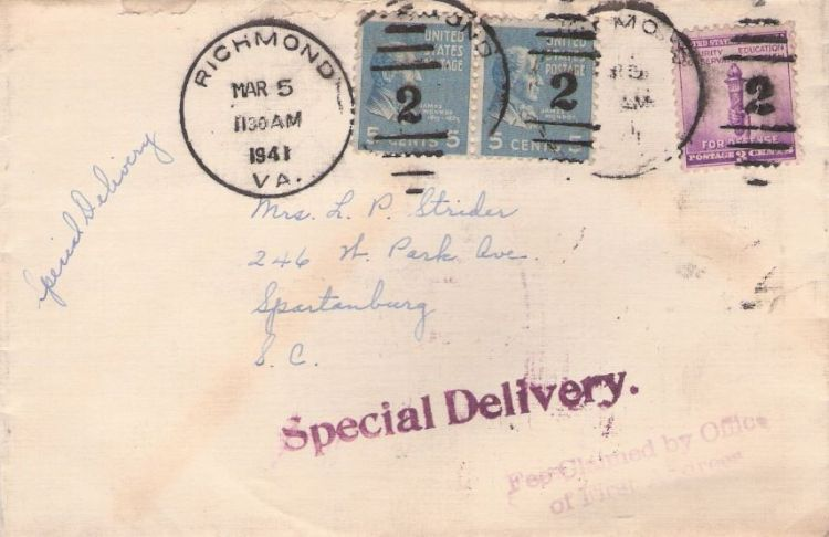 Cover bearing James Monroe and torch stamps