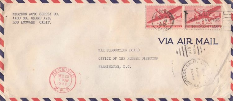Cover bearing pair of transport plane stamps