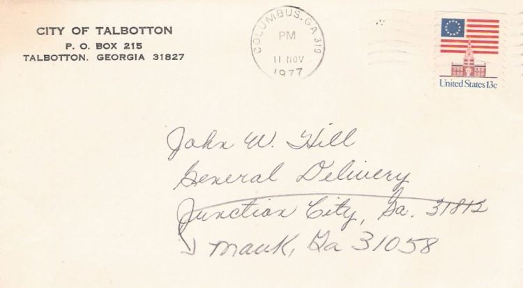Cover bearing American flag and Independence Hall stamp