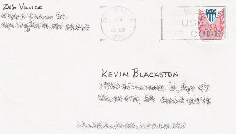 Cover bearing computer vended postage stamp