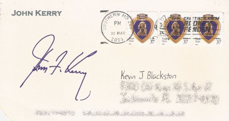 Cover bearing Purple Heart stamps