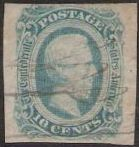 Blue green 10-cent Confederate States of America postage stamp picturing Jefferson Davis