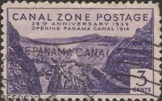 Purple 3-cent Canal Zone postage stamp picturing Gaillard Cut