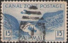 Blue 15-cent Canal Zone postage stamp picturing Gaillard Cut