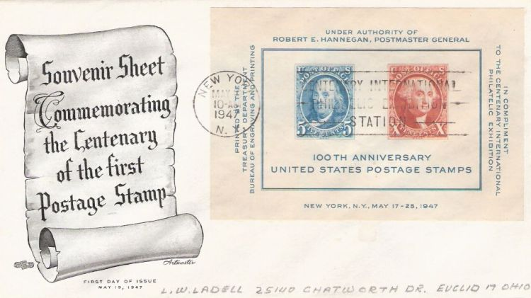 First day cover bearing souvenir sheet of Benjamin Franklin and George Washington stamps