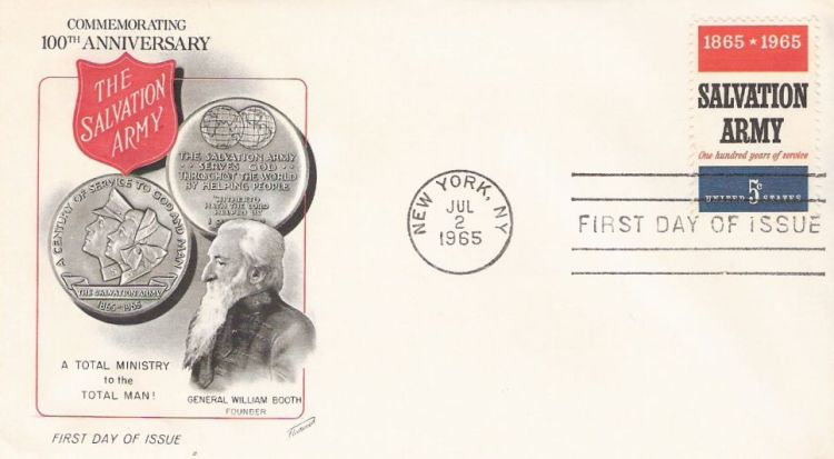 First day cover bearing 5-cent Salvation Army stamp