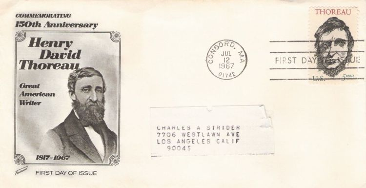 First day cover bearing 5-cent Henry David Thoreau stamp