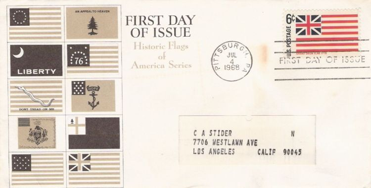 First day cover bearing 6-cent Grand Union Flag stamp