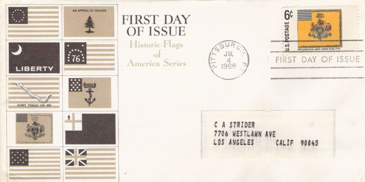 First day cover bearing 5-cent Philadelphia Light Horse flag stamp