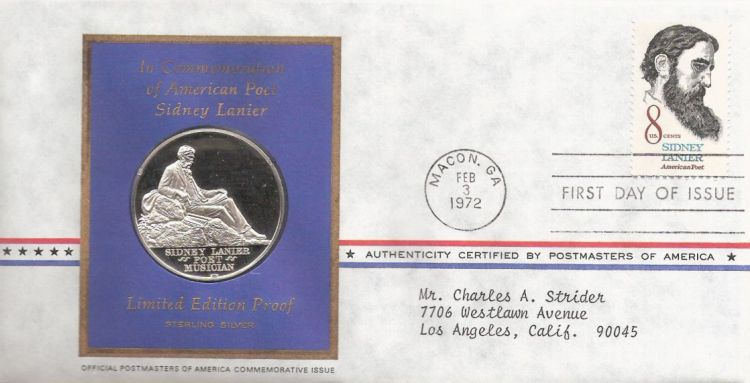 First day cover bearing 8-cent Sidney Lanier stamp