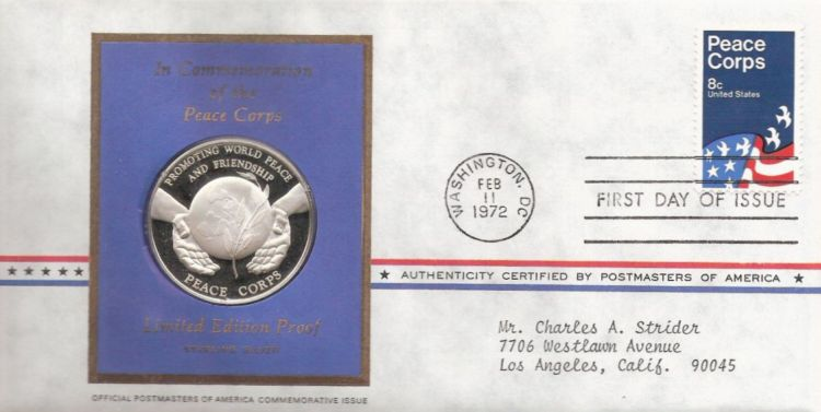 First day cover bearing 8-cent Peace Corps stamp