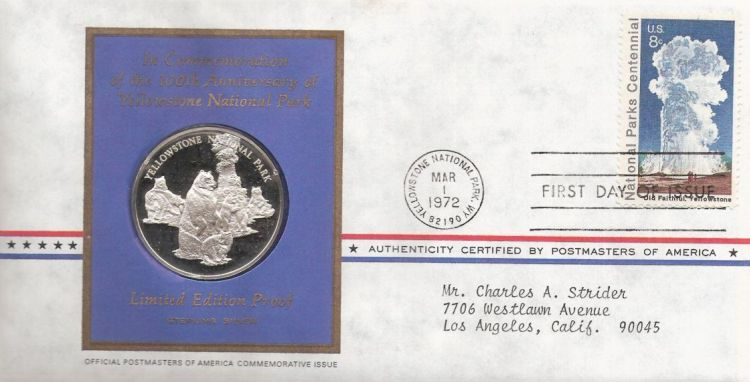 First day cover bearing 8-cent Old Faithful stamp