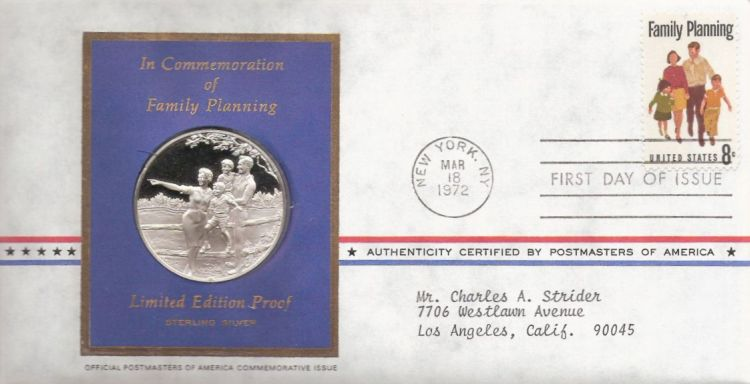 First day cover bearing 8-cent family planning stamp