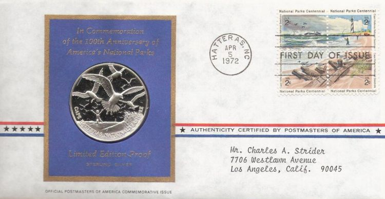 First day cover bearing block of four 2-cent Cape Hatteras National Seashore stamps