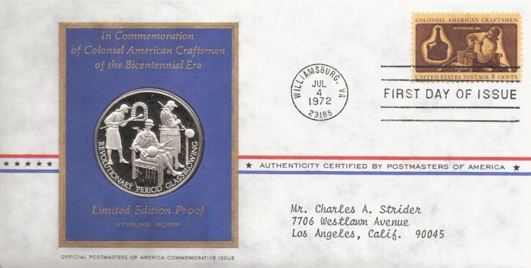 First day cover bearing 8-cent glass blower stamp