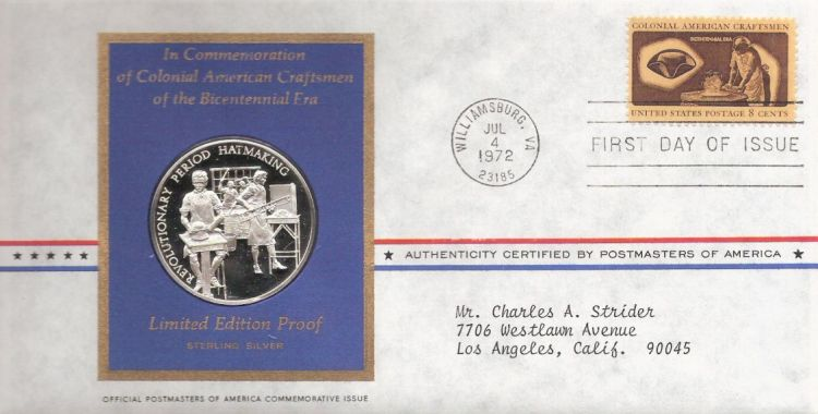 First day cover bearing 8-cent hatter stamp