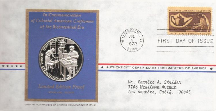 First day cover bearing 8-cent silversmith stamp