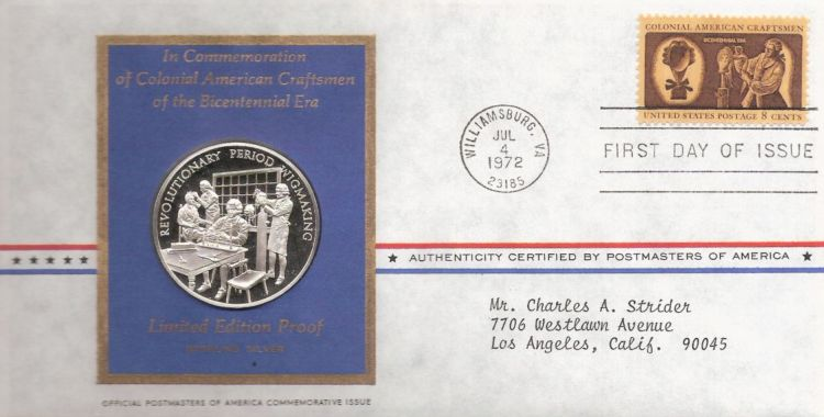 First day cover bearing 8-cent wigmaker stamp