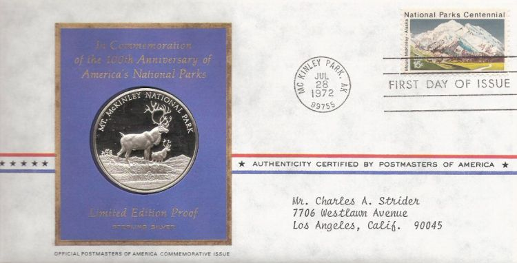 First day cover bearing 15-cent Mount McKinley stamp