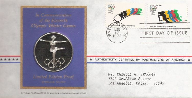 First day cover bearing two stamps picturing Olympians