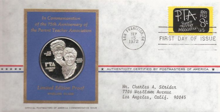 First day cover bearing 8-cent Parent Teacher Association stamp