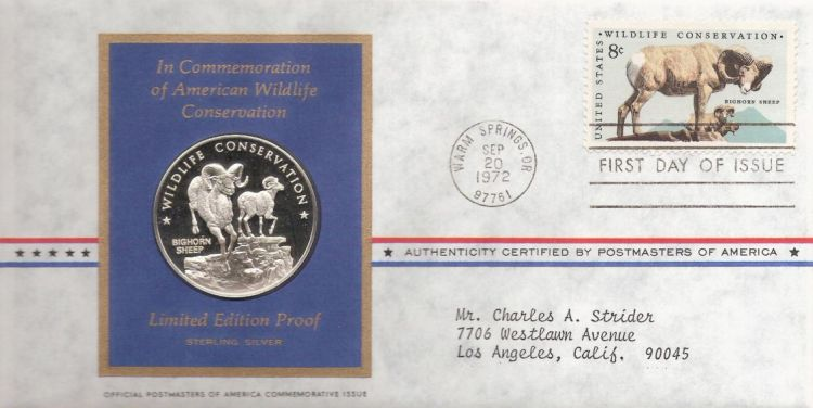First day cover bearing 8-cent bighorn sheep stamp