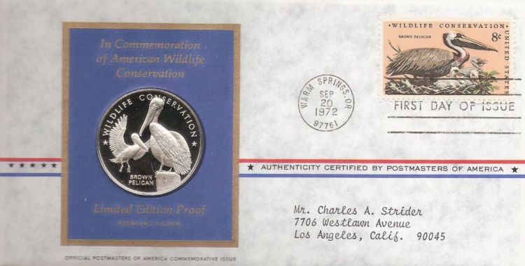 First day cover bearing 8-cent brown pelican stamp