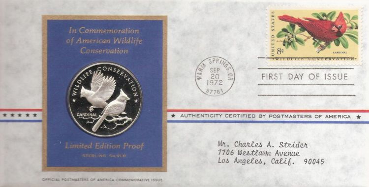 First day cover bearing 8-cent cardinal stamp