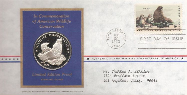 First day cover bearing 8-cent fur seal stamp