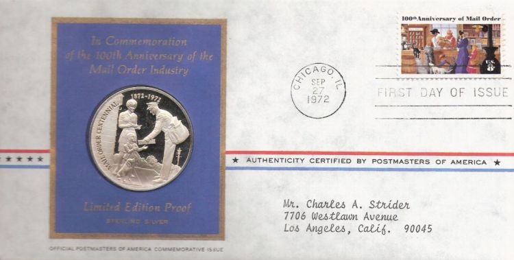 First day cover bearing 8-cent mail order stamp