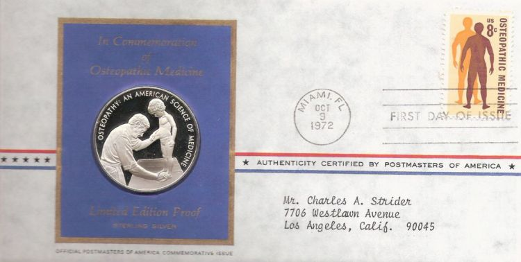First day cover bearing 8-cent osteopathic medicine stamp