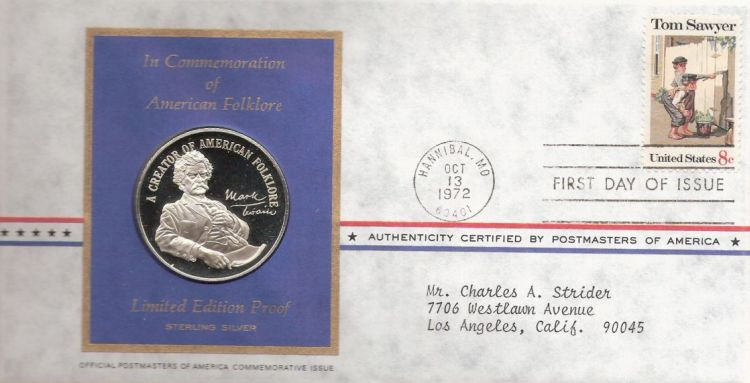 First day cover bearing 8-cent Tom Sawyer stamp