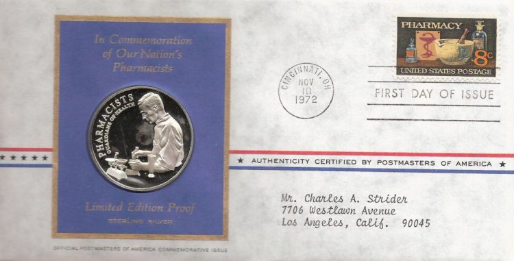 First day cover bearing 8-cent pharmacy stamp