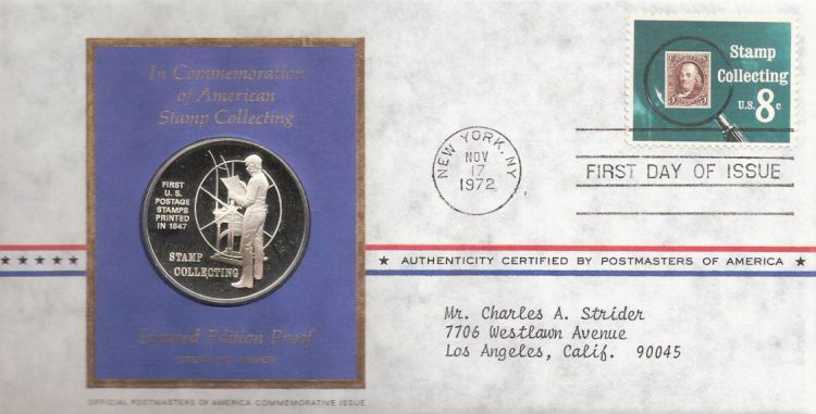 First day cover bearing 8-cent stamp collecting stamp