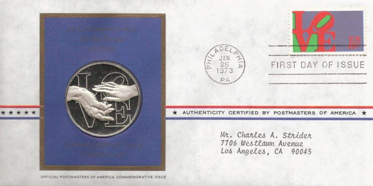 First day cover bearing 8-cent love stamp