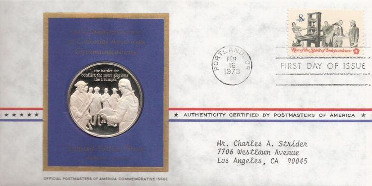 First day cover bearing 8-cent patriots examining pamphlet stamp
