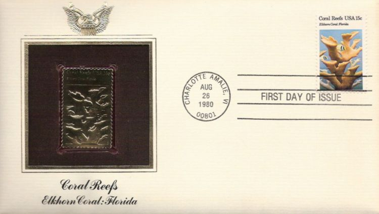 First day cover bearing 15-cent elkhorn coral stamp