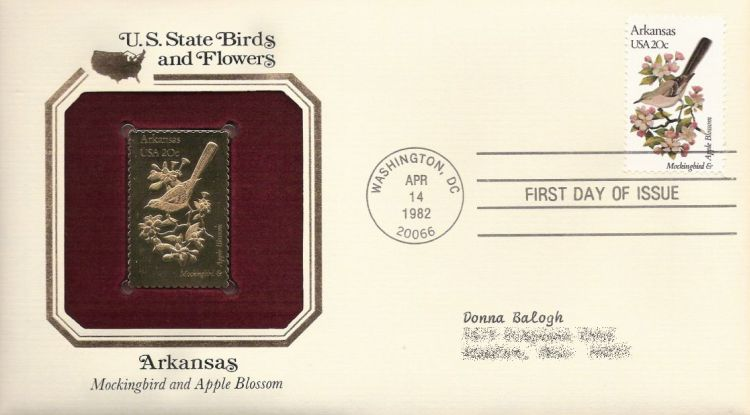 First day cover bearing 20-cent Arkansas stamp