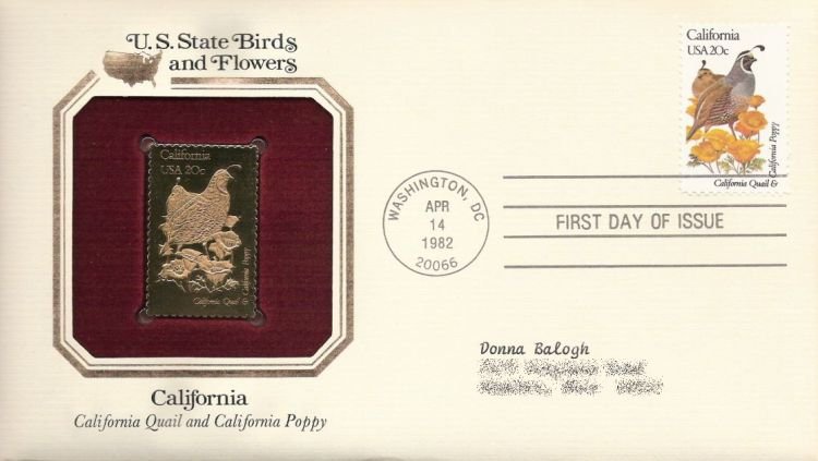 First day cover bearing 20-cent California stamp