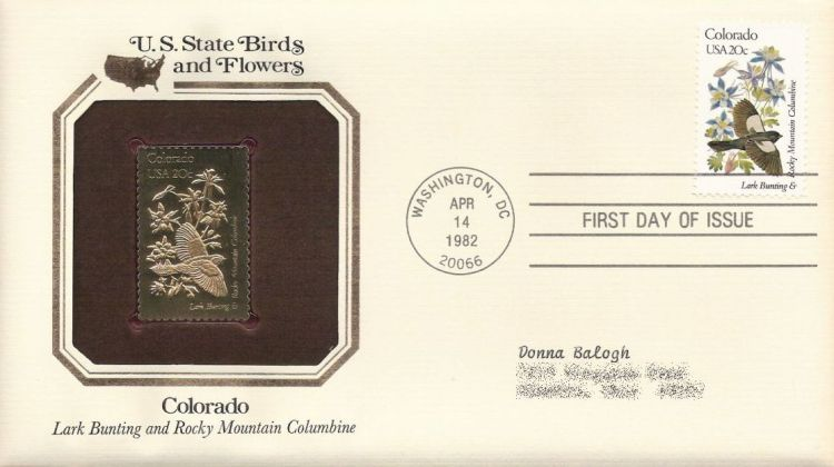 First day cover bearing 20-cent Colorado stamp