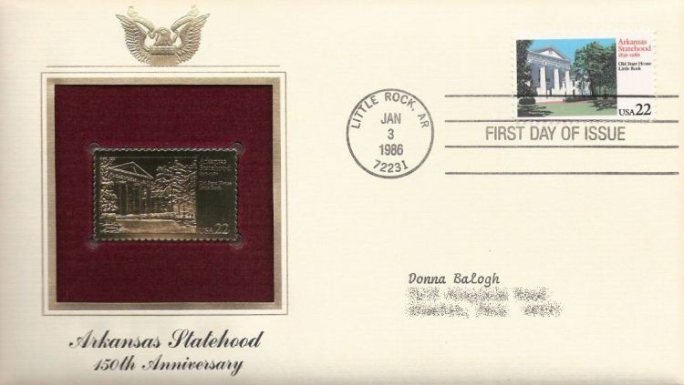 First day cover bearing 22-cent Arkansas Statehood stamp