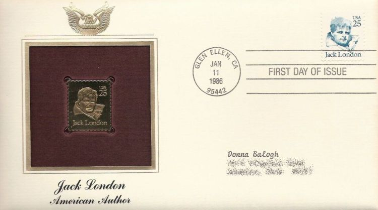 First day cover bearing 25-cent Jack London stamp